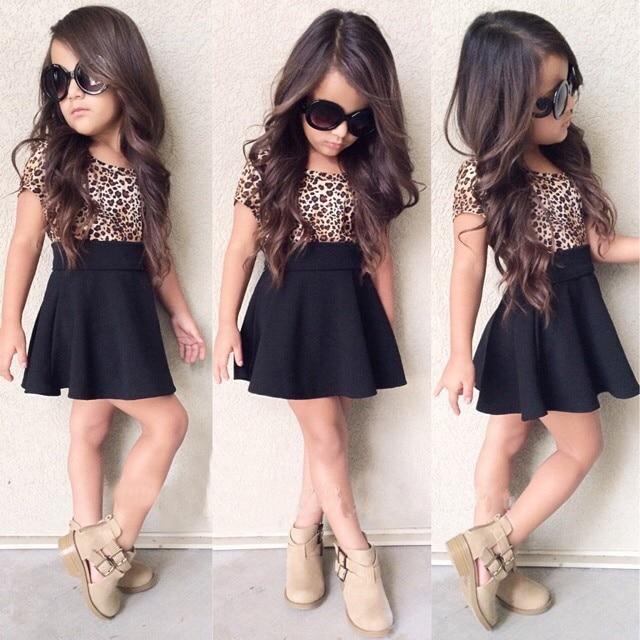 Leopard 2019 Summer New Fashion Baby Girls Kid Short Sleeve T-shirt Patchwork Dress Short Dresses Princess TUTU Dress