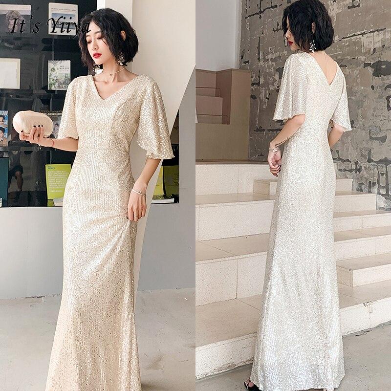 It's YiiYa Eveing Gowns V-neck Sequins Evening Dress For Women 2020 Mermaid Long Plus Size Half Sleeve Robe De Soiree K122