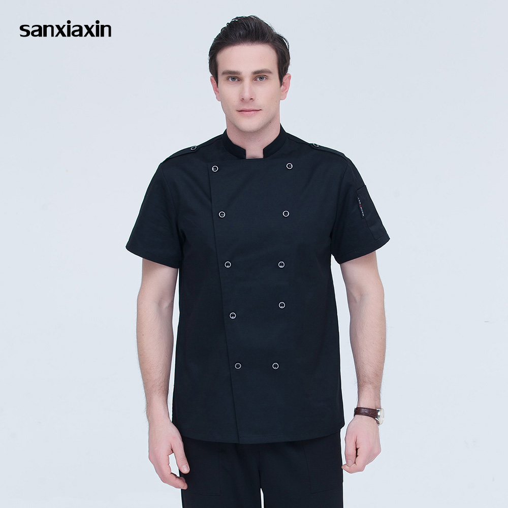 Short Sleeves Chef Jackets High Quality Double Breasted Chef Uniforms Restaurant Catering Bakery Waiter Cooker Clothes 3 Colors
