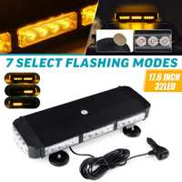 12V 24V 17.6 32 LED Car LED Roof Strobe Light Bar Emergency Signal Warning Light Flash Amber Magnetic Truck Trailer Bus