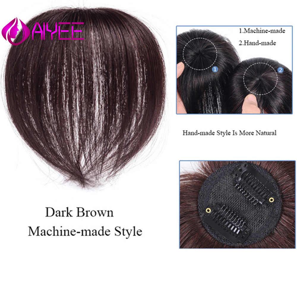 AIYEE Natürliche Schwarz Topper Haarteil mit Bang Haar Stück Stück Schließung Toupet Gerade Synthetische Protein Seide Haar Hand-made