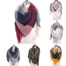 2019 knitted spring winter women scarf plaid warm cashmere scarves shawls neck bandana pashmina lady wrap