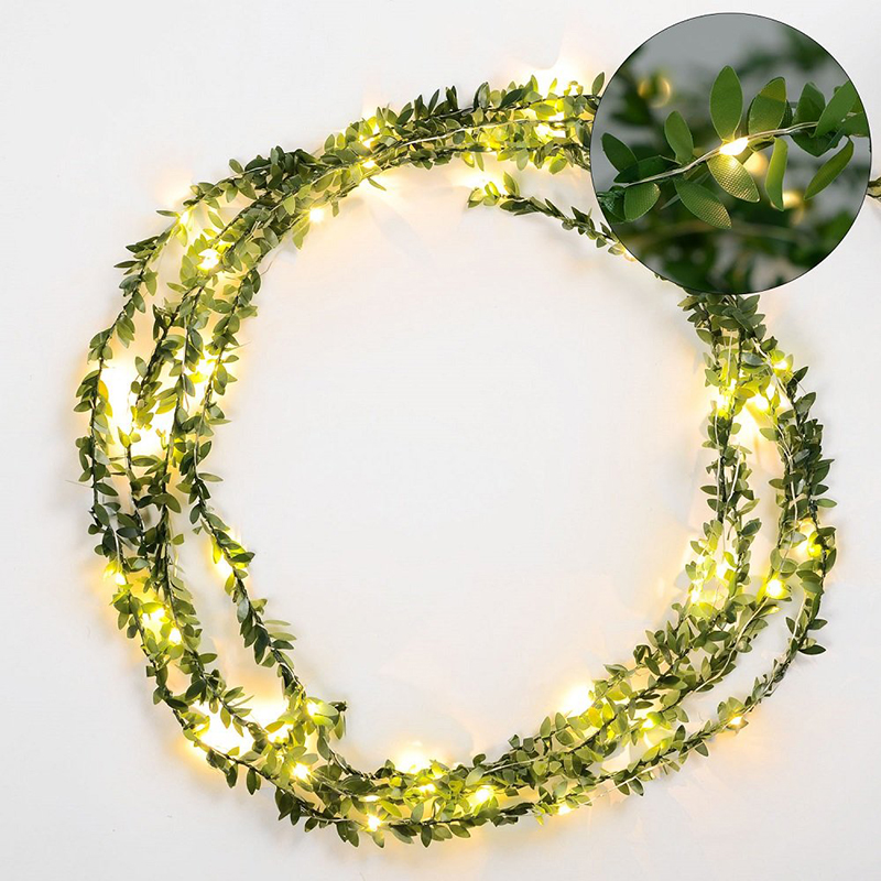 10m 5m Leaves Garland Usb Fairy Light Led Copper Wire Battery Operated String Lights For Wedding Christmas Home Party Decoration
