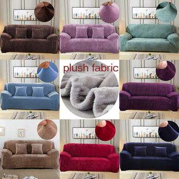 Plusz gruby narzuta na sofę elastyczna do salonu narzuta na sofę aksamitna odporna na kurz dla zwierząt pokrowce all-inclusive narożnik tanie i dobre opinie S-EMIGA Sofa Cover Plain Dyed Modern Solid Sofa przekroju Plush