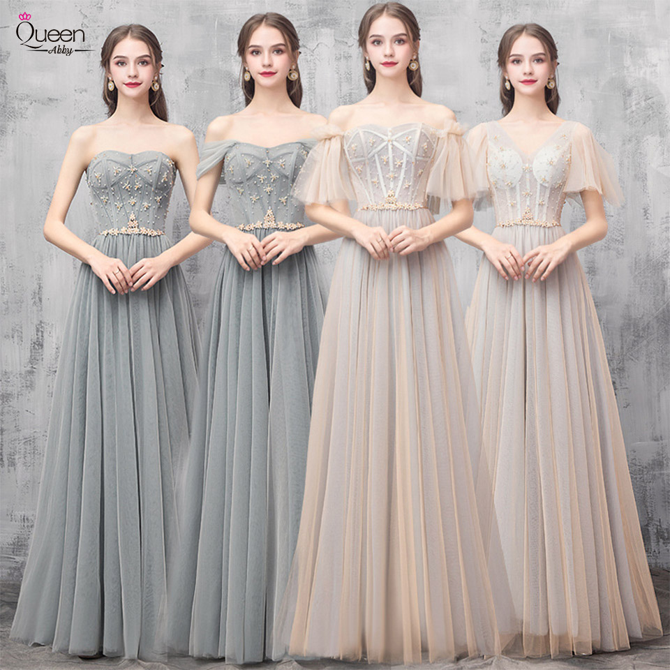 Elegant Bridesmaid Dress A-line Floor-length Sequined Tulle Dress With Sashes For Wedding