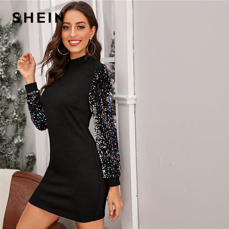 SHEIN Black Mock-neck Sequin Sleeve Bodycon Dress Women Spring Glamorous Stand Collar Slim Fit Pencil Short Dresses 1