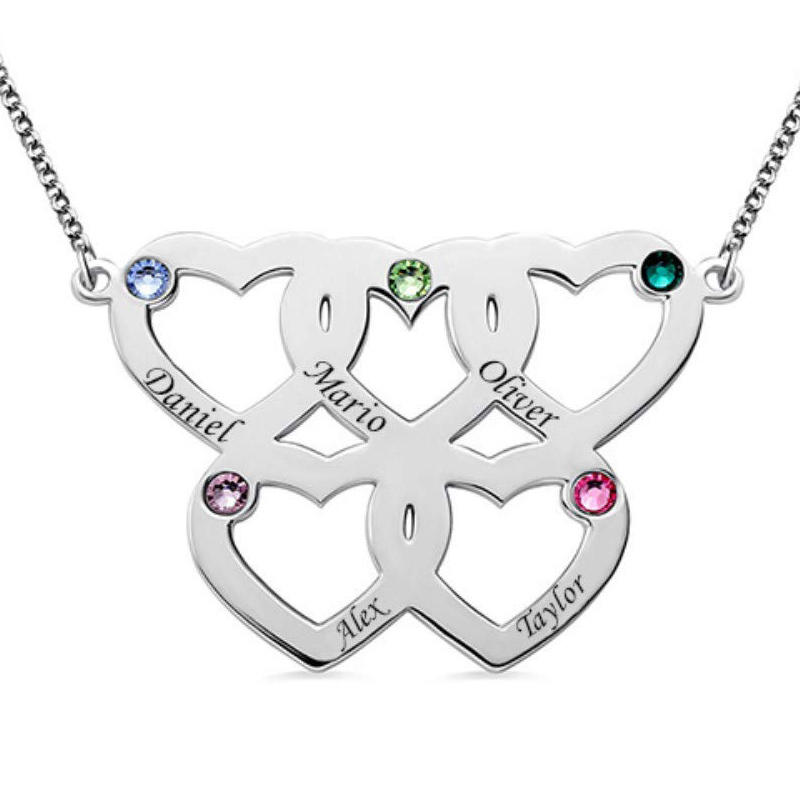 Image 3 - StrollGirl 925 Sterling Silver Engraved 1 5 Intertwined Hearts  Necklace With Birthstones Personalized Name Jewelry For FriendPendant  Necklaces