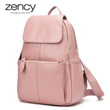 Zency 14 Colors 100% Genuine Leather Women Backpack Fashion Ladies Travel Bag Preppy Style Schoolbags For Girls Laptop Knapsack(China)