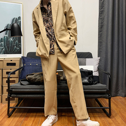 Privathinker Men Spring Fashion Tracksuit 2020 Men Loose Leopard Print Suit Patchwork Blazer Suit Male 2 Piece Set Pants Clothes