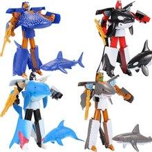 16 см робот-Дельфин трансформация, Акула, Кит, фигурка, мультфильм, животные, обучающая коллекция, пластиковые игрушки для детей