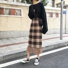 Skirt Women's Fashion Skirt Autumn And Winter Korean-style Gauze Woolen Retro Plaid High-waisted A- line Mid-length Skirt Autumn(China)