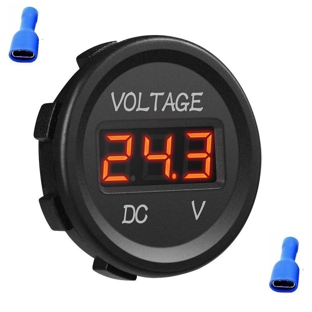 1x 12V 24V Waterproof Car Motorcycle Blue LED Digital Display Voltmeter Volt