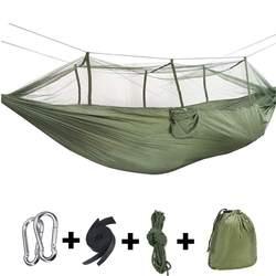 Outdoor Camping hamaki z moskitierą 1 2 osoby przenośne podróże Camping tkaniny huśtawka do zawieszenia hamaki łóżko meble ogrodowe na