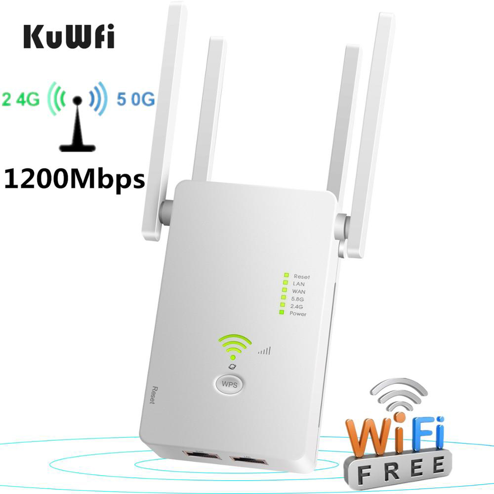 KuWFi 1200Mbps Wifi Repeater Dual Band Wireless 2 4G   5G Wifi Extender AP Router Wifi Signal Amplifier With 4pcs Antennas