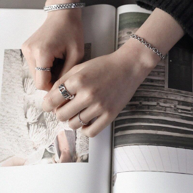 Image 4 - LouLeur, серебро 925 пробы, широкая цепочка, кольца, серебро, Ретро стиль, дикая квадратная полоса, цепь, открытые кольца для женщин, серебро 925, ювелирное изделие, подарок-in Кольца from Украшения и аксессуары on AliExpress