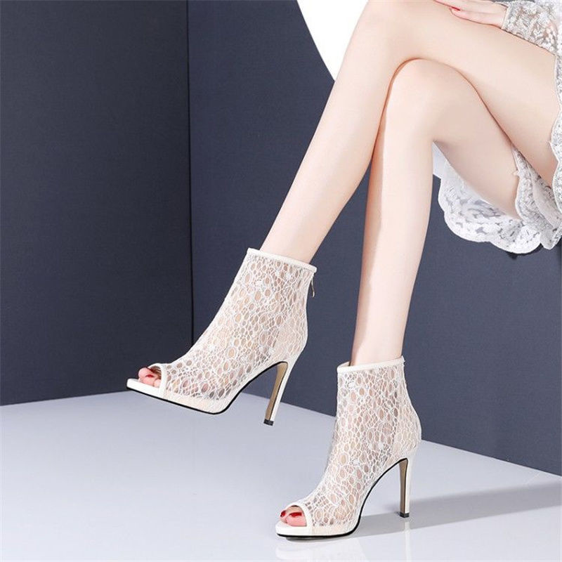 Fish Mouth Net Boots Hollow Thin Heel Cool Boots Female 2021 Spring and Summer New Waterproof Platform High Heel Shoes Female