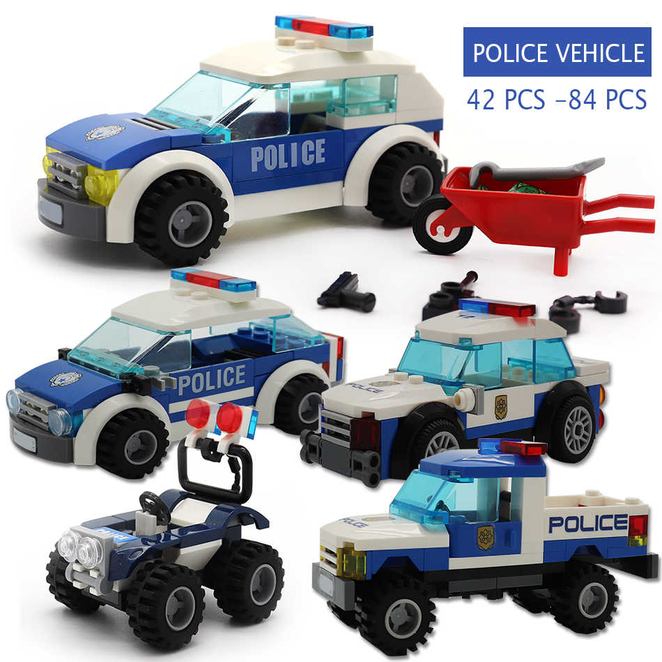 Police Chase Series ATV Cops Cars Figures Guns Compatible legoed City Construction Truck Educational Building Blocks Kids Toys