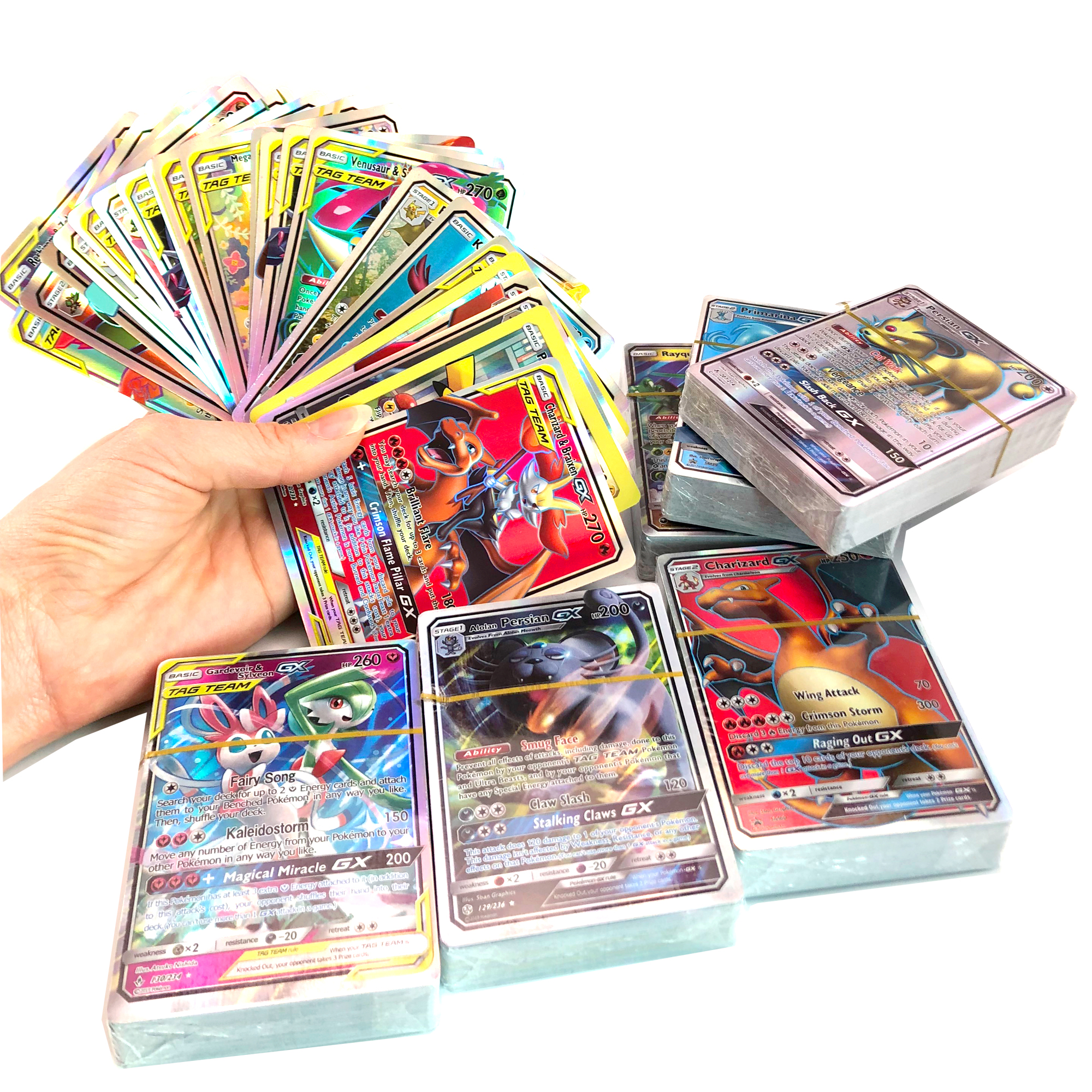 10-300 шт. без Повторите английская версия Pokemon Card GX усилительный насос команды бирки EX Мега блестящие карточная игра битва меню торговли детск...