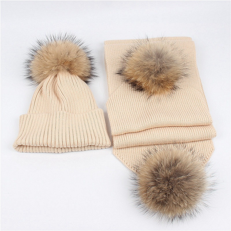 Maylisacc 2019 New Raccoon Hair Ball Wool Pompom Hat Scarf Set Autumn And Winter Woman Outdoor Warm Parent-child Set Hat Scarf