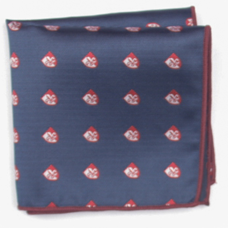 Navy With Red Patterned Pocket Square With Patterns Handkerchief