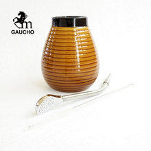 1 Set/Lot Gaucho Yerba Mate Gourds Ceramic Calabash Cup Kits With Stainless Steel Bombilla Straw And Cleaning Brush Hot Sale