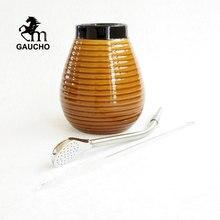 1 ensemble/lot Gaucho Yerba Mate gourdes céramique calebasse tasse Kits avec acier inoxydable Bombilla paille et brosse de nettoyage offre spéciale