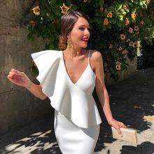 BacklakeGirls белое коктейльное платье сексуальное с v-образным вырезом однотонный цветной карандаш короткое вечернее платье vestidos de coctel для коктейльных Вечерние