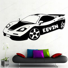 sports Car custom name wall vinyl sticker kids room Wall Decal Home Decor Sports racing car home  decoration HJ413 vinyl wall stickers formula one racing sports car enthusiasts youth room shool dormitory home decoration wall decal 2ce15