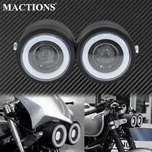 รถจักรยานยนต์ฝาแฝดDualไฟหน้าUnivelsalคู่ไฟหน้าAngel EyesสำหรับHarley Softail Fat Boy Cafe RacerสำหรับYamaha