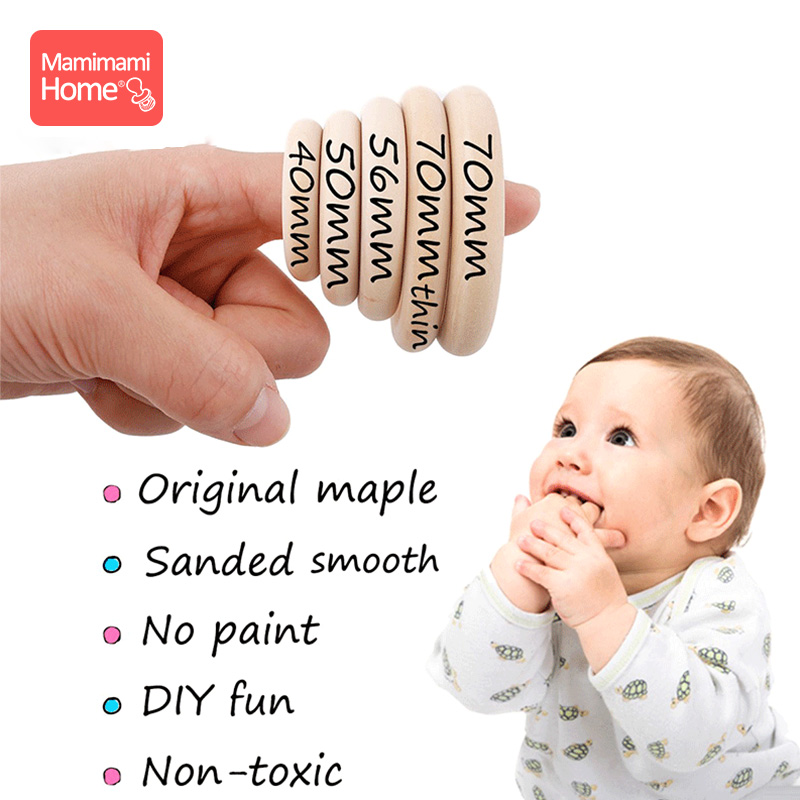20pcs Maple Wood Ring 70/55/50/40mm Smooth Surface Natural Wooden Rodent Baby Teething Rings DIY Making Baby Bracelet Gifts Toys