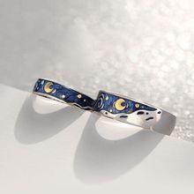 S925 Van Gogh gwiaździste niebo otwarte kochanek pierścienie zespół romantyczna para biżuteria pierścień tanie tanio JAVRICK CN (pochodzenie) Miedzi Zakochanych Metal TRENDY Koktajl pierścień Napięcie ustawianie Moda Party Pierścionki