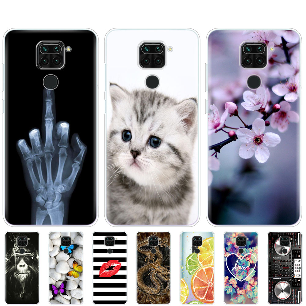 For Xiaomi Redmi Note 9 Case Soft Tpu Phone Back cover On Redmi Note 9 Pro Bumper Shell Protective Funda cute flowers