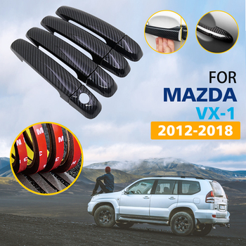 Black Colour Carbon Fiber Door Handles Cover Trim Set for Suzuki Ertiga Mazda VX-1 2012~2018 Auto Stylin Car Accessories 2013 image