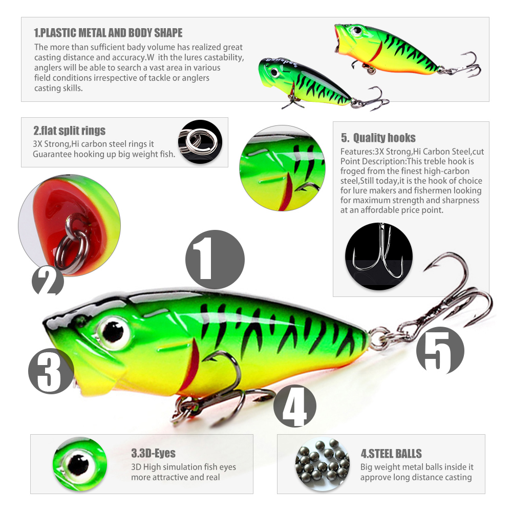 Banshee 45mm 3 3g Bass Popper Fishing Lures Mini Wobblers For Pike Bait Hard Crankbaits Floating Topwater Poppers Artifcial Lure in Fishing Lures from Sports Entertainment