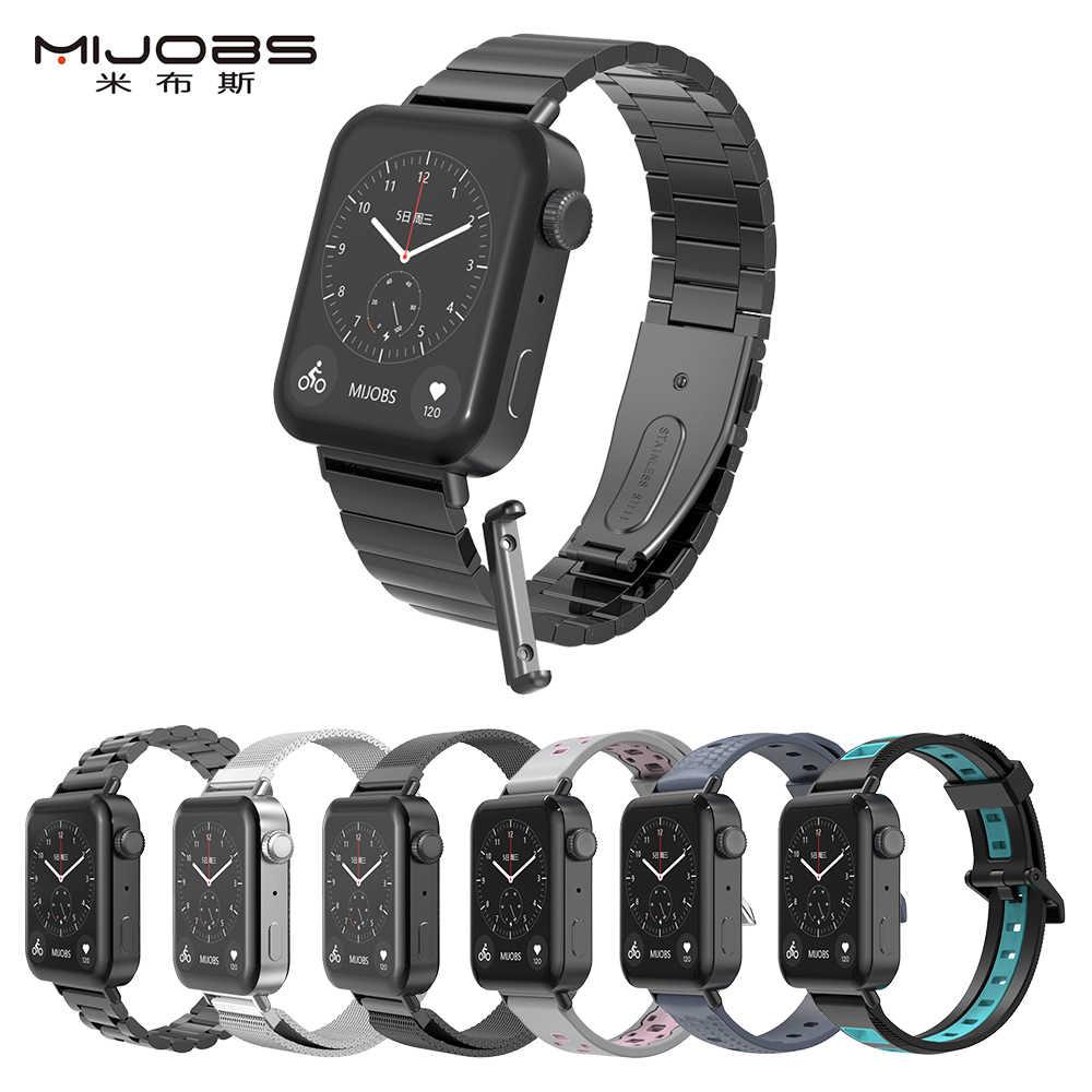 Pour Xiaomi Mi montre Bracelet en métal avec connecteur en cuir Bracelet de montre Bracelet parfait Match Silicone accessoires de remplacement