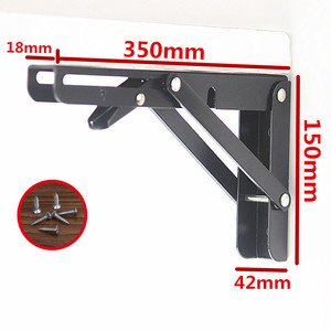 Image 4 - 2PCS,8  20 Inch Length Heavy Duty Decorative Adjustable Black Triangle Wall Mount Folding Desk Table Support Shelf Brackets
