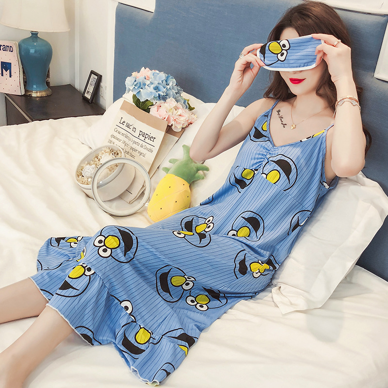 Korean-style Fresh Nightgown Women's Summer Sexy Camisole With Chest Pad Sesame Street Pajamas Long Skirts Loose Thin Home Wear