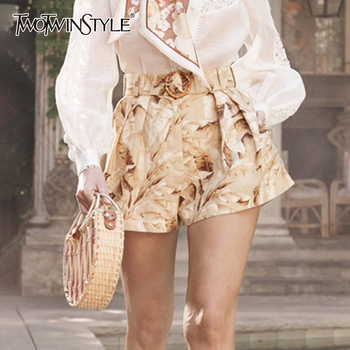 TWOTWINSTYLE Print Floral Lace Up Shorts For Women High Waist Korean Short Pants Female Autumn Oversized Fashion New 2019