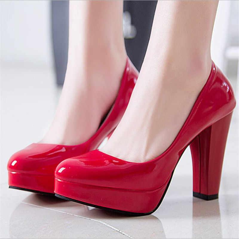 Sexy para mujer Zapatos de tacón fino con plataforma de charol súper tacones altos para mujer zapatos de fiesta de boda