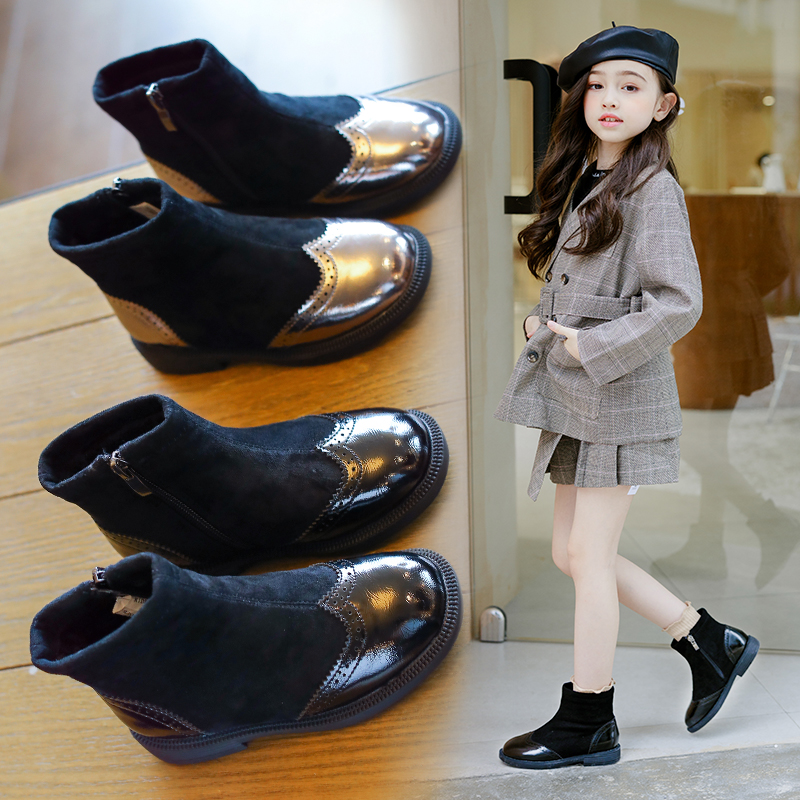 AAdct Princess Girls Boots 2019 Winter New Kids Short Boots For Girls Cotton Warm Children Shoes Brand Fashion High-quality