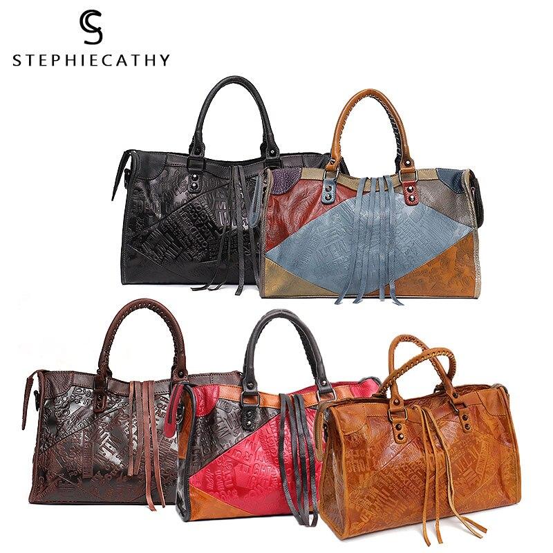 SC grandes femmes sacs en cuir femme rétro Vintage en cuir italien sac à bandoulière pour filles grande capacité concepteur de luxe - 5