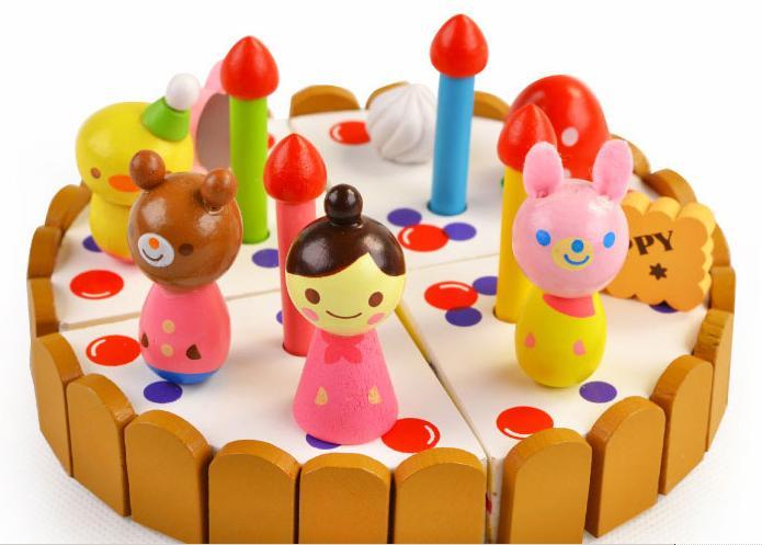 Brezplačna dostava Klasične kuhinjske igrače Set lesene dekoracije torte Otroški modeli Les modeli torta za otroke Otroške igrače za igranje