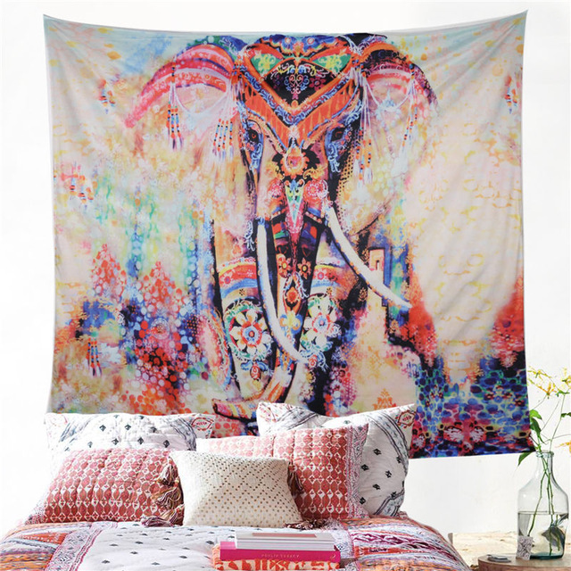 Elephant Tapestry Colored Printed Decorative Mandala Tapestry Watercolor 130cmx150cm 150cmx200cm Boho Wall Carpet|Decorative Tapestries| |  - title=