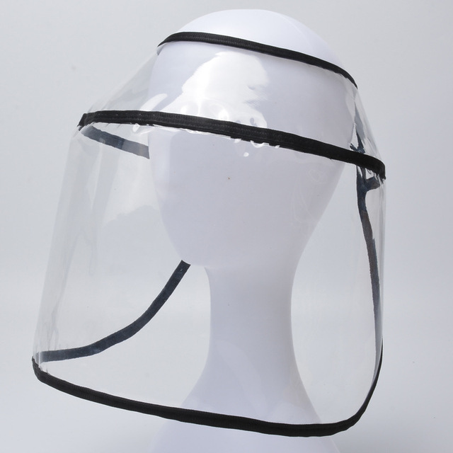 Adult Protective Face Shield Bucket Hat Transparent Face Cover Block Saliva Droplets Anti-spitting Fisherman Cotton Sun Cap 5