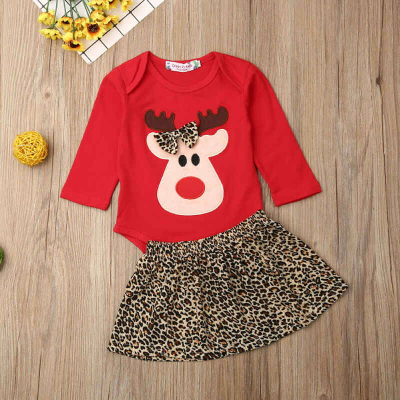 2019 Christmas Infant Baby Girl Clothes Bowknot Deer Romper Leopard Skirt Outfit Set Autumn Clothing