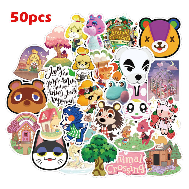 50pcs/60pcs Animal Crossing Game Stickers Skateboard Fridge Guitar Laptop Motorcycle Travel Luggage Classic Toy Sticker for Kid image