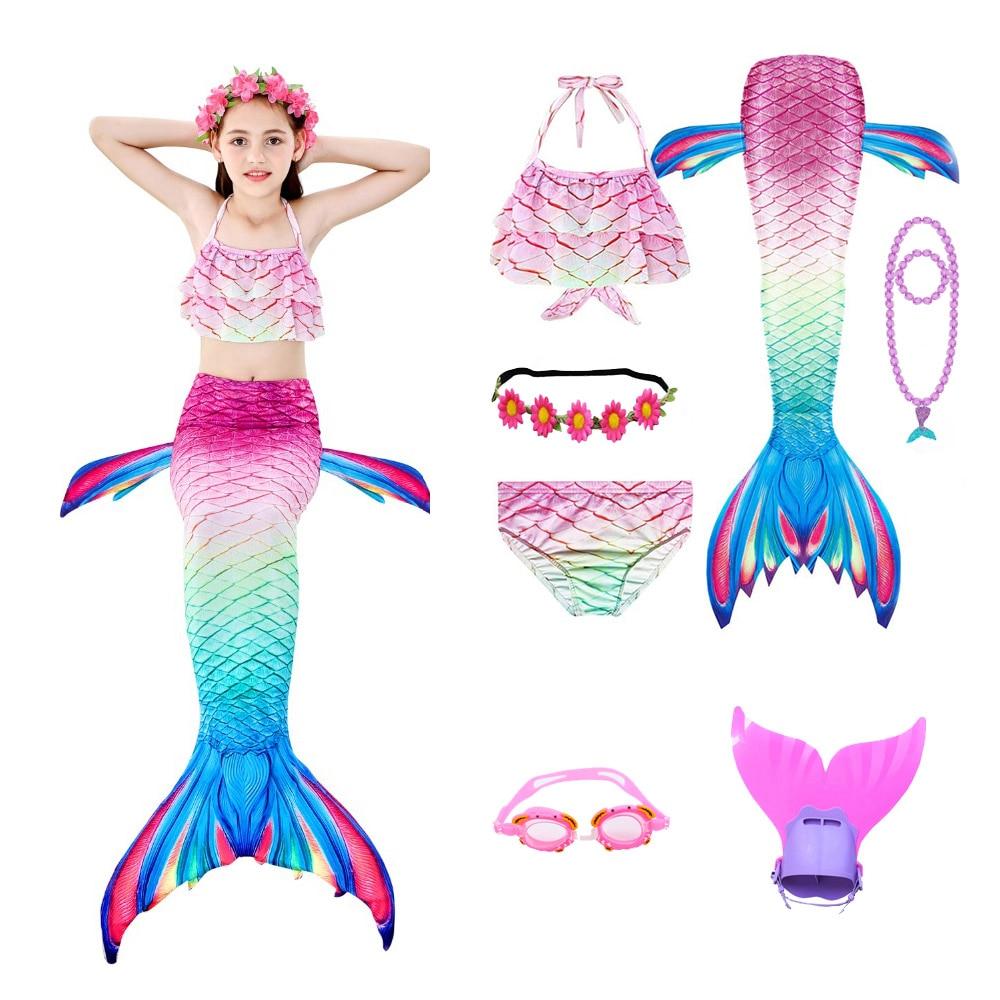 Girls Mermaid Tail Swimsuit 3 Pcs Bikini Bathing Swimming Costumes Children Cosplay Dress With Monofin Fin Birthday Gift
