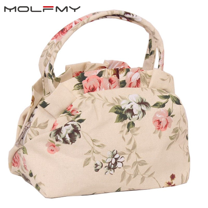 2020 Women Handbags Canvas Ladies Casual Tote Bag Floral Printing Female Daily Use Girls Shopping Hand Bag Small Cute Purse
