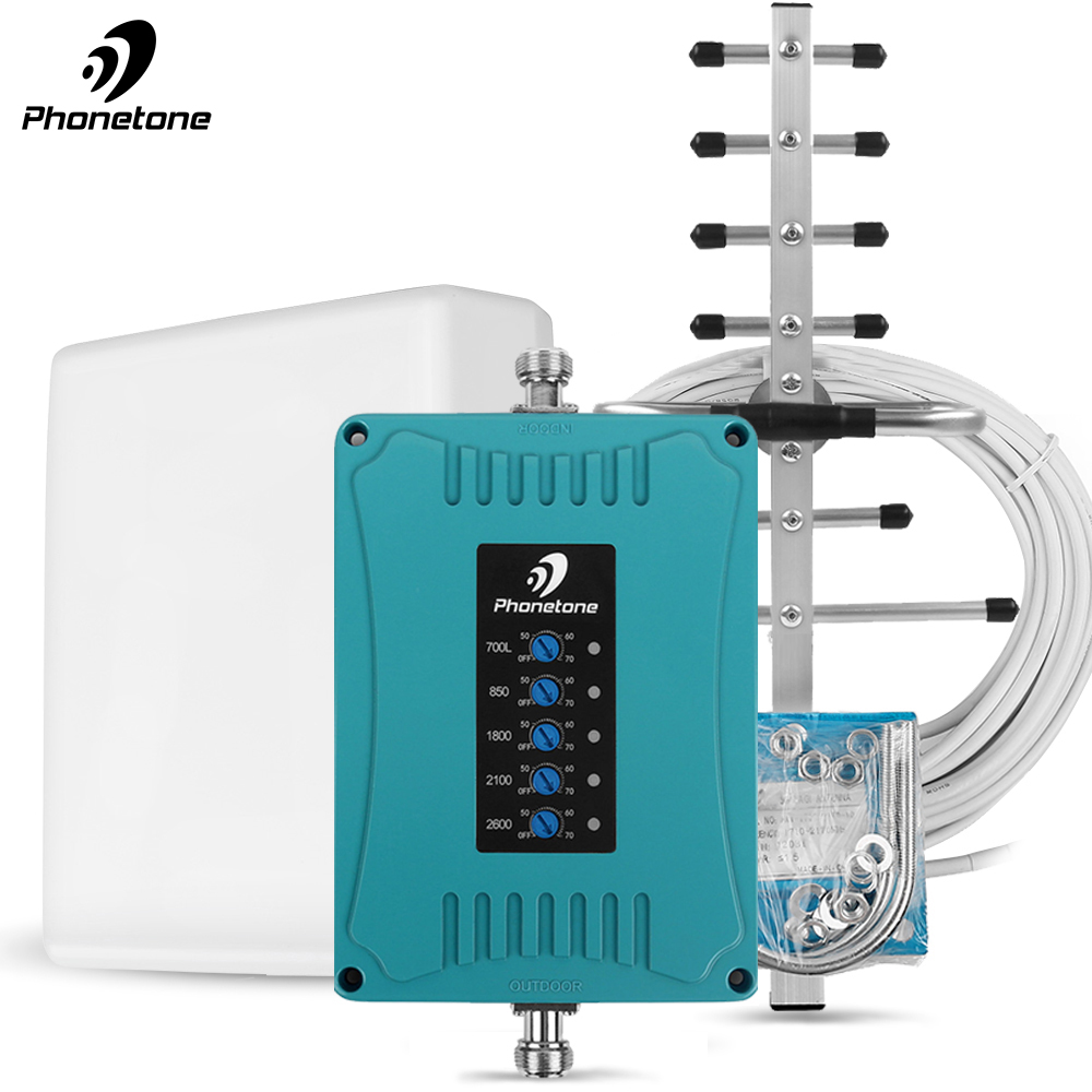 2G 3G 4G Amplifier LTE 2600/1800/700/850/2100 MHz Lte Repeater Mobile Phone Signal Booster 70dB Cellular Booster Band 28/5/3/1/7