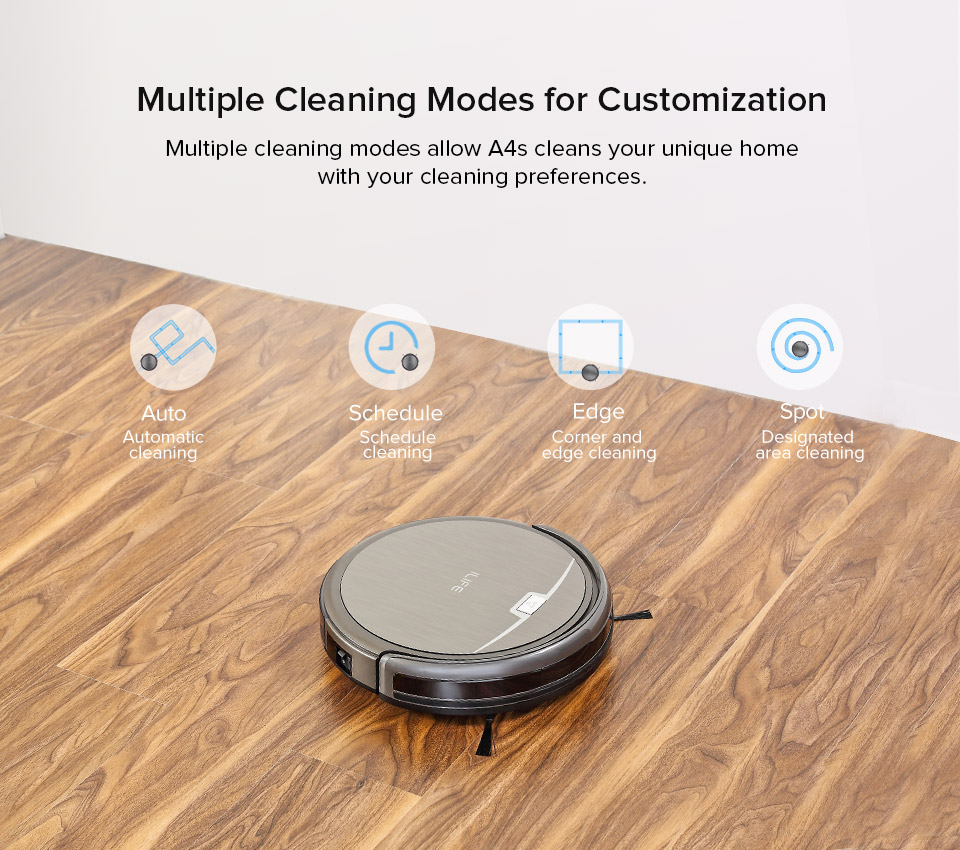 H5ed28863a37845dc918df31099b83b4a2 ILIFE A4s Robot Vacuum Cleaner Powerful Suction for Thin Carpet & Hard Floor Large Dustbin Miniroom Function Automatic Recharge